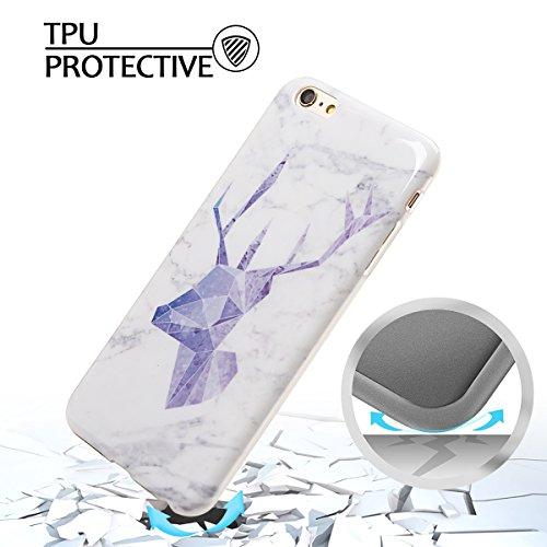 Coque iPhone 6 Plus , Etui Housse en Silicone Gel TPU de Protection Case Cover Souple Flexible Ultra Mince avec Feuilles et Flamingo motif Mode Dessin pour Apple iPhone 6 Plus (4.7 pouces) Enveloppe C Violet Cerf et Blanc