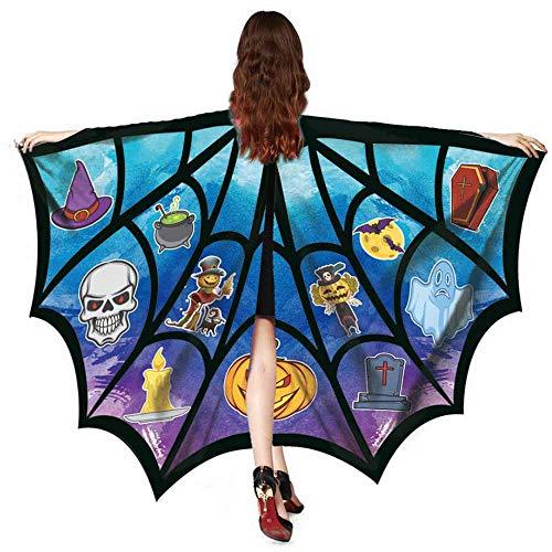 Kostüm Trenchcoat Brauner - SEWORLD Halloween Kostüm Damen Herbst Punk Halloween Fledermaus Schal Kostümzubehör Tops Bedrucktes Oberteil Freizeithemd Kleidung Dünner Pullover(Blau,One Size)
