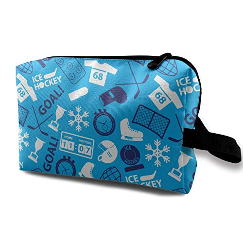 Hockey sobre hielo Iconos deportivos Patrón azul Bolsas de cosméticos pequeñas Bolsa de maquillaje de viaje Organizador de moda