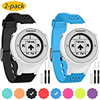 Vozehui Band Compatible with Garmin Approach S2/S4 Watch, Soft Silicone Adjustable Replacement Wristbands for Garmin Approach S2/S4/Vivoactive Watch Black+Blue
