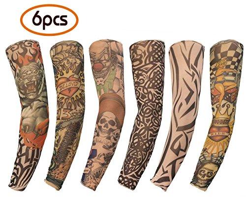 Mobengo 6 Stück Unisex Dünne Nylon Tattoo Ärmel Sleeve Temporäre Tätowierung Anziehen Armstrümpfe