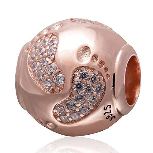 Soulbead Oro Rosa Neonato Footprint zircone cubico trasparente Ciondolo in argento Sterling 925primi passi nascita regalo Bead per European braccialetto con catena a serpente