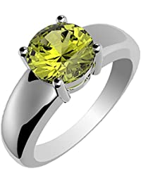 1.75ctw,Genuine Peridot 3x3mm Square & Solid .925 Sterling Silver Rings