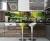 wandmotiv24 Küchenrückwand Gartenlaube an Kleinem See Nischenrückwand Spritzschutz Design M0694 210 x 50cm (B x H) - Aluminium 3mm