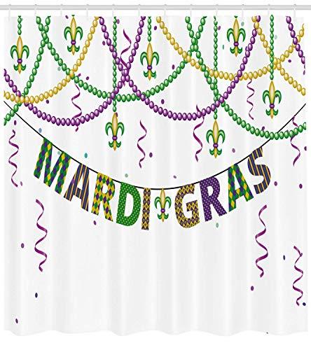 Mardi Gras Duschvorhang Festliche Dekorationen mit Fleur De Lis Icons Hängen von Bunten Perlen Stoff Badezimmer Dekor Set mite Grün Lila (Gras Mardi Silber Perlen)