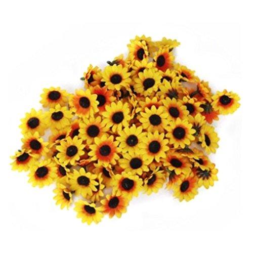 Demarkt 100*Kunstblumen Künstliche Deko Blumen Gänseblümchen für Hochzeitsdeko Karten DIY Basteln Haar Bogen Hut Handwerk (Gelb)
