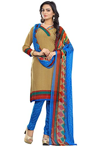 Fashionate Fab - Distinctive Yellow Blue Colour Unstitched Salwar Kameez(140_Yellow_Blue_Free_Size)