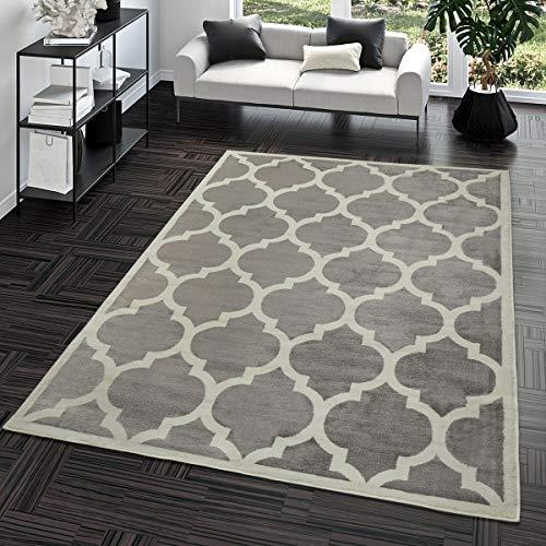 TT Home Kurzflor Teppich Modern Marokkanisches Design Wohnzimmer Interieur Trend Grau, Größe:120x170 cm