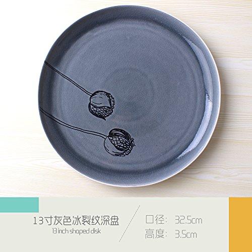 s Riss Super Große Keramik Obstteller Meeresfrüchte Eisplatte Deep Bowl Hotel Restaurant Tisch Geschirr Blau 32,5x3,5 cm ()