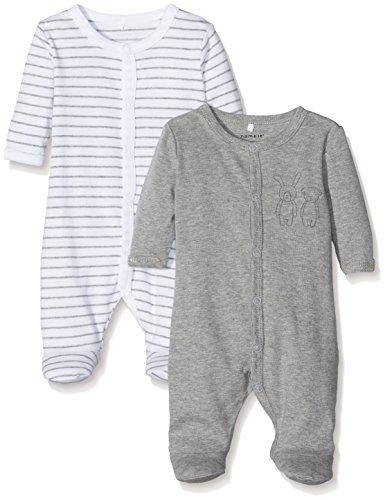 NAME IT Unisex Baby Schlafstrampler NBNNIGHTSUIT 2P W/F Grey Mel NOOS, 2er Pack, Mehrfarbig Melange, 74