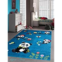 Bambini tappeto di gioco tappeti moquette bambini svegli animali colorati con contorno di taglio disegno del panda con le farfalle e gli uccelli gufo Turchese Crema Rosa Grigio Verde Multi Größe 80x150 cm