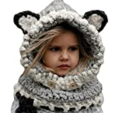 Richoose hiver chaleureux Coif Hood Écharpe Caps Chapeau Earflap Fox tricoté châles de laine Casquettes Chapeaux pour bébé Enfants Filles Garçons, Gris