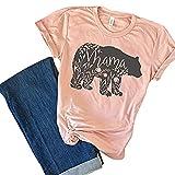SuperCimi Blumen Mutter Bär T-Shirt Muttertag Geschenke für Mama Kurzarm Baumwolle Hemden T-Stücke Oberteile Size XL (Rosa)