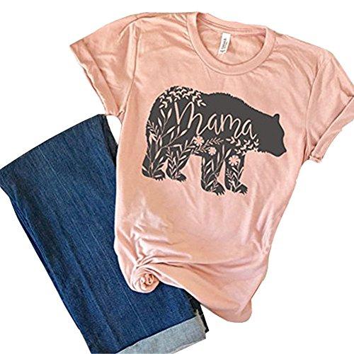SuperCimi Blumen Mutter Bär T-Shirt Muttertag Geschenke für Mama Kurzarm Baumwolle Hemden T-Stücke Oberteile Size L (Rosa)