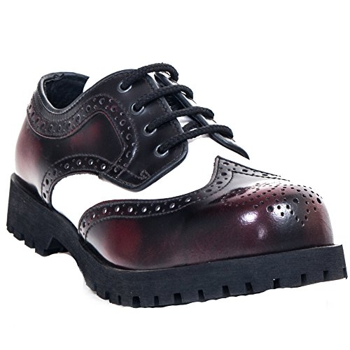 Boots & Braces - Budapester Burgundy / Weiss Schuhe 4-Loch Rangers Stahlkappe White