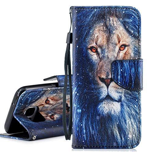 Samsung Galaxy S7 Leder Schutzhülle, Edaroo Klappbar Bookstyle Brieftasche Handytasche Lederhülle Geldbörse Handyhülle mit Blau Blauer Löwe Motiv PU Leder Dünn Klapphülle für Samsung Galaxy S7