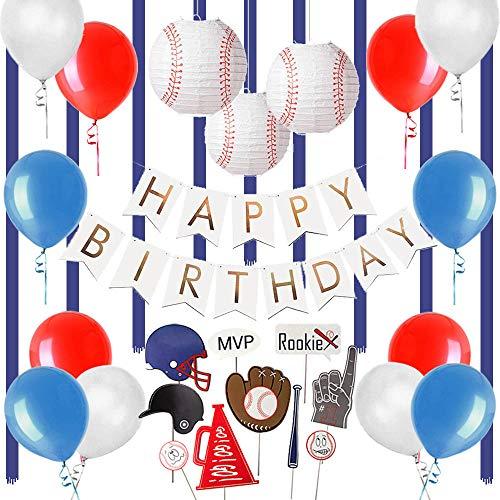 Easy Joy Geburtstag Dekoration Baseball Foto Requisiten Kinder Geburtstag Party Deko Happy Birthday Girlande Lampions Ballons Set