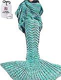Meerjungfrau Decke, AM Seablue Handgemachte häkeln meerjungfrau flosse decke für Erwachsene, Mermaid Blanket alle Jahreszeiten Schlafsack Für Erwachsene … (180 grün)