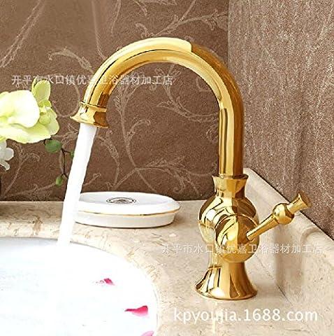 Lei Continental antique Lavabo Bench Basin-wide en cuivre Mélangeur d'eau chaude et froide