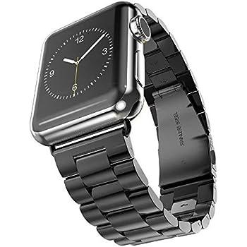 Apple Watch Bracelet,Sundaree Apple Bande Montre Bracelet Watch Strap Rechange Inoxydable avec Metal Fermoir pour Apple Watch 38MM Series 1 Series 2(Black 38MM FR)