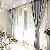 YHviking Verdickung Volltonfarbe Vorhang,Bleistift-Falte Anti - Milben-vorhänge,Wärmeisoliert Nordische Vorhang Einfach Zu Waschen Für Bay-Fenster Schlafzimmer-D 150x260cm(59x102inch)