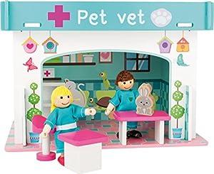 Small Foot 10854 Playhouse Animal Hospital para enchufar, incluyendo muebles, muñecas y un conejo de madera, coloridos muebles impresos, construcción infantil, pequeña casa de muñecas adecuado para niños a partir de 3 años