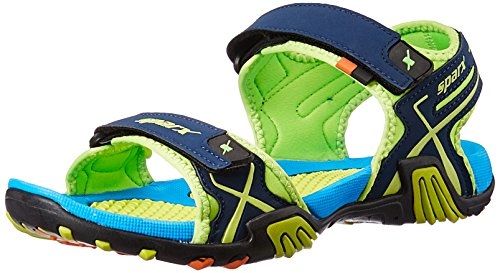 Sparx Men's Navy Blue and Fluorescent Green Sandals and Floaters - 8 UK/India (42 EU)(SS-451)