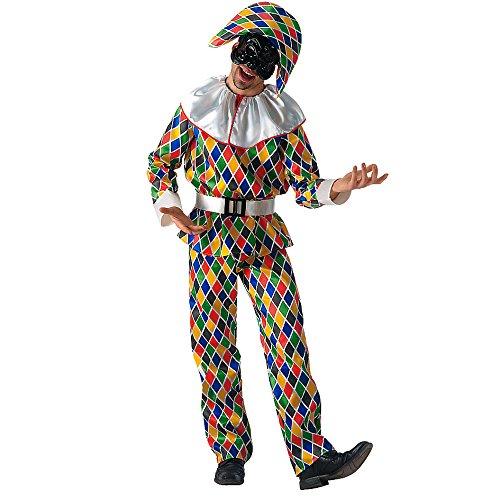 Maske Satin Harlekin (Carnival Toys 80806 - Gauckler, Herrenkostüm mit Maske und Hut,)