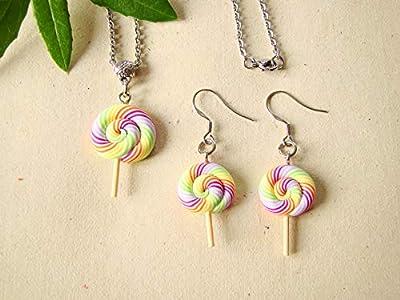 Bijoux enfants, Coffret cadeau, collier et boucles d'oreilles sucettes lollipops multicolore fimo