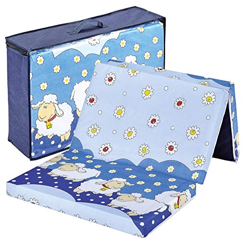 *Bambini Reisebettmatratze Reisematratze Schäfchen 120×60 | Höhe 6 cm | Klappbar | Bezug abnehmbar und waschbar*