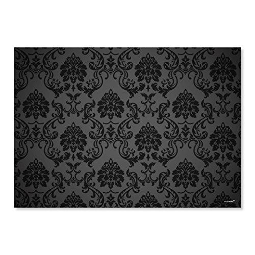 100 Papier-Tischsets Black Ornament I dv_008 I DIN A3 I Platzsets Platzdecken Tisch-Unterlage aus Papier Deko modern Einweg Hochzeit Barock