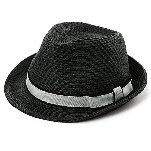 Unisex Sonnenhut Stroh Panama Fedora Strandhut Kurze Krempe schwarz SIGGI L -