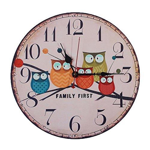 Winomo orologio da parete legno quarzo silenzioso gufo vintage colorato