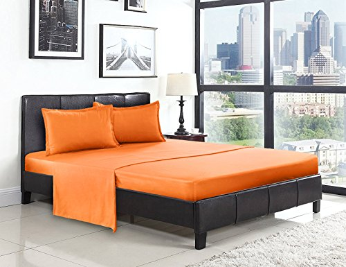 Clearance, CosCool Superfine Fibre Bed Sheet Pillowcase Set 4pc, Soft Anti-wrinkle Bedding Sets,King Size,Orange