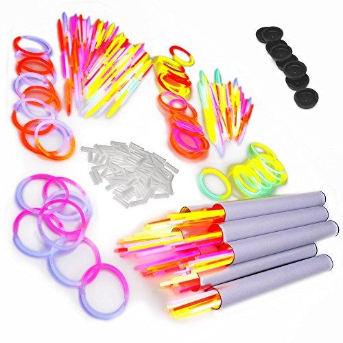 200 zweifarbige Knicklichter bicolor inkl 200 x Verbinder im 5-Farbmix 400 Teile