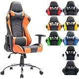 CLP Silla de oficina XXL MIRACLE, silla gaming tapizada en piel sintética, regulable en altura entre los 48 - 58 cm, respaldo reclinable y con diseño deportivo, capacidad hasta 150Kg negro/naranja