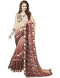 Koroshni Women's Half And Half Georgette Saree With Blouse Material