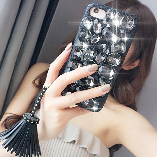 Cover iPhone 6S Plus,Cover iPhone 6 Plus,Custodia iPhone 6S Plus / iPhone 6 Plus Cover,ikasus® Handmade di lusso scintilla Bling Full Crystal strass diamanti con Ciondolo in nappa in PU custodia per i Nero