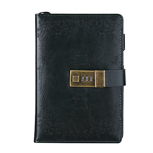 Aibecy Cuaderno Vintage de Cuero PU con Cerradura de Combinación 120 hojas (188x127mm) , verde