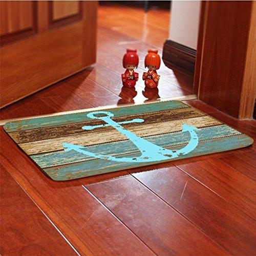 OUNONA Fußmatte Rutschfeste Bodenmatte Vordertür Teppich Schlafzimmer Matten Wohnzimmer Decor Fußmatten Teppiche 40x60 CM (nautischen Anker) - 2