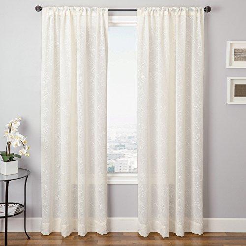 Softline Portola bestickt Fenster Vorhang/Panel/Behandlung/Tuch, natur, 55 Inches x 96 Inches (96 Vorhang-panel Zoll)