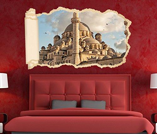 3D Wandtattoo Skyline Moschee Istanbul Islam Allah Tapete Wand Aufkleber Wanddurchbruch Deko Wandbild Wandsticker 11N1378, Wandbild Größe F:ca. 140cmx82cm