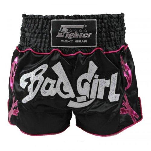 4Fighter Bad Girl Muay Thai Shorts Kick- Thaibox Hose schwarz-pink mit pinken Outlines, Größe:L