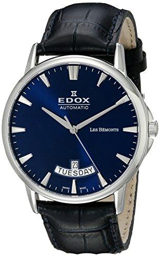 Edox Hommes Analogique Automatique Montre avec Bracelet en Cuir 83015-3-BUIN