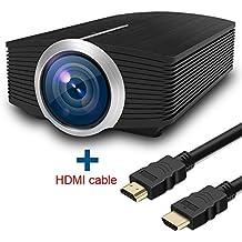 Full HD Proyector de vídeo, huiheng 1200lúmenes LCD Portable Multimedia Proyector de vídeo para Cine en casa Soporte HD 1080P HDMI VGA AV USB TF Entrada con cable HDMI