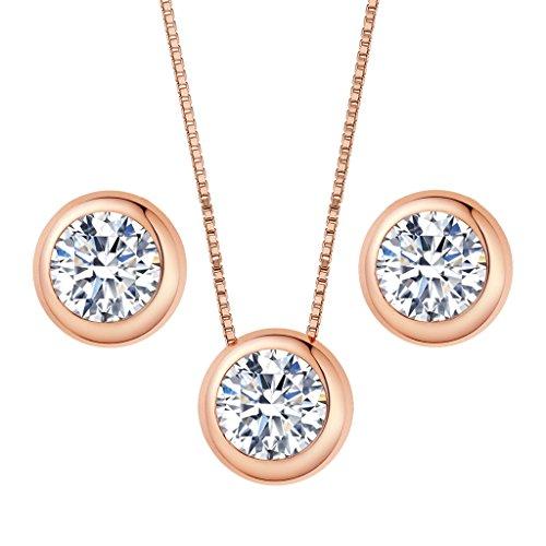 Clearine Damen 925 Sterling Silber Elegant Cubic Zirconia Rund Form Einfach Pendant Halskette Pierced Ohrringe Schmuck Set Rose-Gold-Ton (Set Gold Rose Ohrring Halskette)