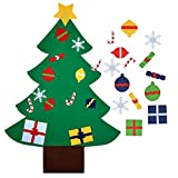 outgeek DIY feltro natale albero educativo giocattolo muro decorazione ornamenti di Natale con appeso corda per bambini