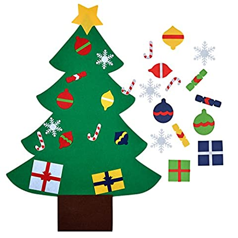 OUTGEEK DIY Filz Christmas Tree Educational Toy Wall Dekor Ornaments mit hängenden Seil für Kinder