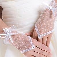 Gleader Encaje Sin Dedos Guantes Burlesque Clubwear del Partito de desgaste del vestido tejido (blanco)