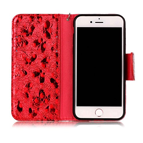 "MOONCASE iPhone 7/iPhone 8 Flip Cover, [Butterfly Pattern] PU Cuir Étuis Case Built-in Support TPU Antidérapant Housse de Protection pour iPhone 7/iPhone 8 4.7"" Lavande Red"